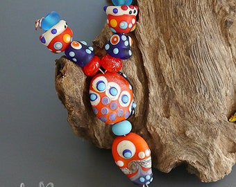 "Handmade lampwork beads | set  |  ""TRIBAL ORANGE"" 