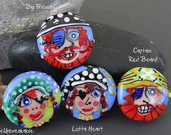Handmade lampwork bead focal  |  Going Back to Being a Pirate: John Big Friendly |  lentil-shaped |  SRA  |  artisan glass |  Silke Buechler