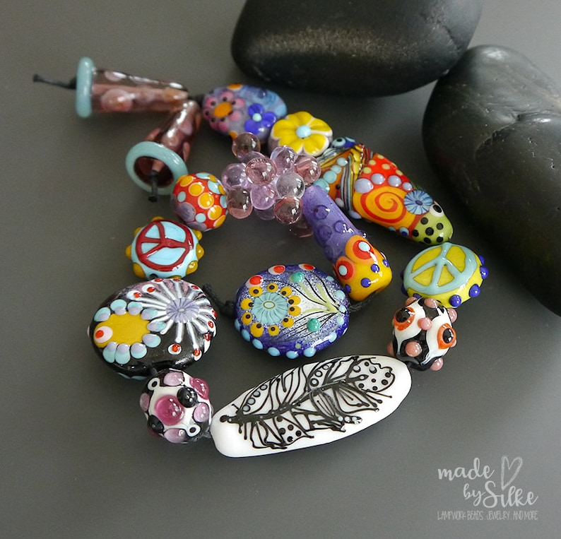 Made in USA ROCKS 7 PURPLE Mangos Matte Nuggets Openstudiobeads Beaded Jewelry Fine Art Openstudio Set 7 Glass Handmade Lampwork beads