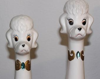Adorable Vintage 1960s Ceramic Poodle Figurines DOGS