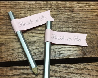 Bride To Be Pencil Flags - Set of 12