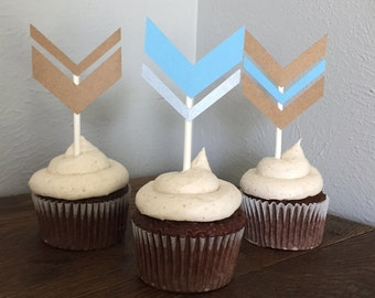 Chevron Cupcake flags - Set of 12