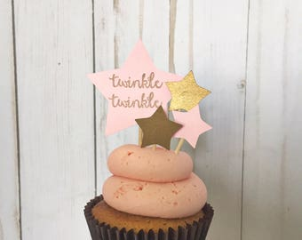 Twinkle Twinkle Baby Girl Baby Shower Cupcake Toppers
