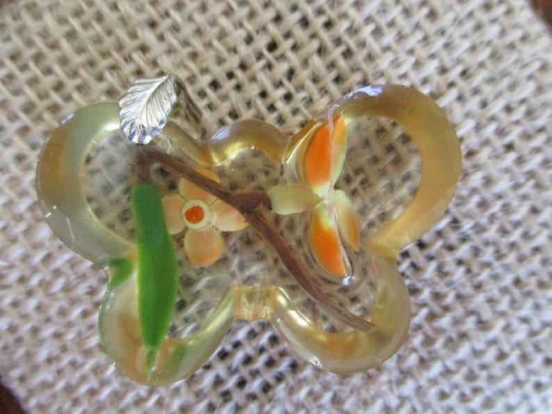 Resin Spring Butterfly Flower Pendant