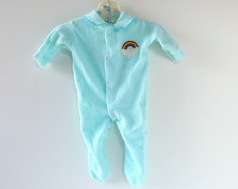 91a31cd97 Aqua Terry Sleeper Unisex with Rainbow, Vintage 1980's, Size Newborn to 10  Lbs.