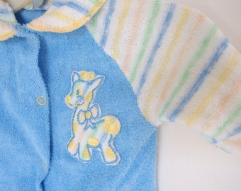 16ddef539 Blue Terry Sleeper Unisex with Giraffe, Vintage 1980's, Size Newborn to 10  Lbs.