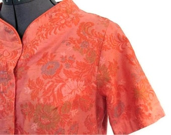 Orange Day Dress, Vintage 1950's 1960's Floral Housedress, Fits Size 6, Small