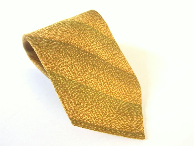 de40a41d3718 Gold Striped Tie Vintage Tie with Woven Gold and Green | Etsy