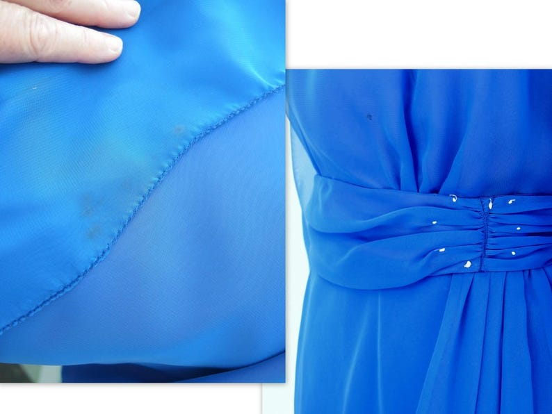 Short Formal Extra Small to Small Vintage 1980/'s Royal Blue Chiffon Party Dress Modern Size 4-6