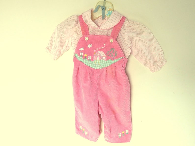 Size 3-6 Mos. Vintage 1980/'s Corduroy Bibs Pink Baby Togs Overalls for Girls with Coordinating Shirt