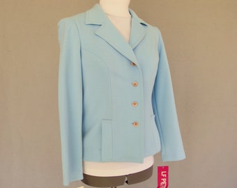 Blue Tailored Jacket, Vintage 1970's Polyester Blazer, NWT, Fits Size 2 - 4, Extra Small
