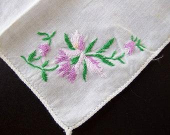 Purple Flower on White Handkerchief, Vintage Hankie with Purple Embroidered Flower