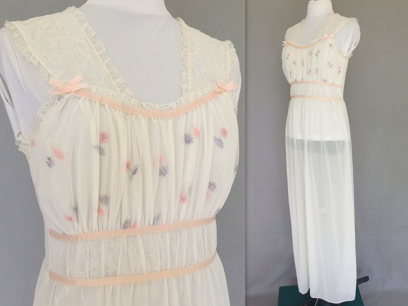 b6f31d0476a Vintage Long Negligee Off White Embroidered Nightie by Adonna