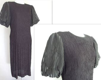 Black Party Dress, Vintage 1980's Leslie Fay Crinkle Dress with Bubble Sleeves, Modern Size 8 Small