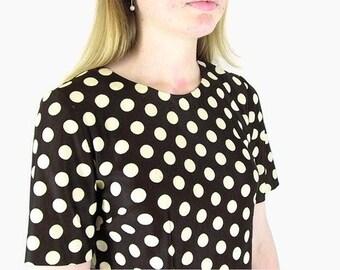 Vintage 1970s Brown Polka Dot Dress, Modern Size 10, Medium