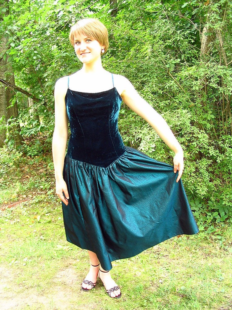 Fits Size 8 Upcycled Teal Party  Prom Dress Small