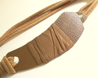 Vintage 1980's Brown Elastic Belt with Scythe-Shaped Leather Wrapped Buckle, Fits Size 10 to 12, Medium
