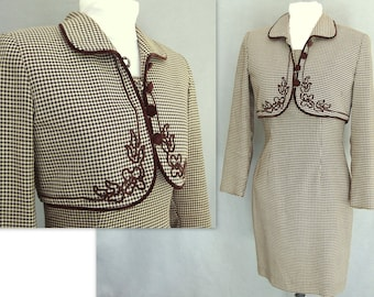Western Style Dress, Vintage 1980's Brown and Cream Check Dress and Bolero - Fits Size 2 to 4, Extra Small