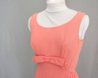 Vintage 1960's Peach Sheath Dress with Bow, Modern Size 4, Extra Small