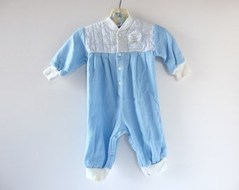 Blue Rompers for Boys, Vintage 1980's Fleece Crawler, Size 3 - 6 mo