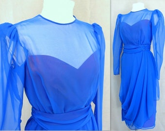 Vintage 1980's Royal Blue Chiffon Party Dress, Short Formal, Modern Size 4 - 6, Extra Small to Small