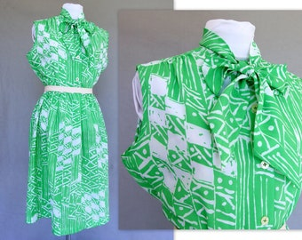 Green Sleeveless Dress, Vintage 1970's Summer Secretary Dress with Pussy Bow, Fits Size 8, Small