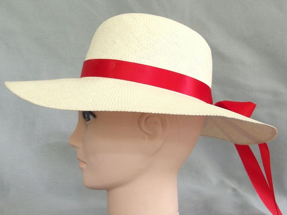 Ivory Straw Hat, Wide Brimmed Summer Hat with Mult