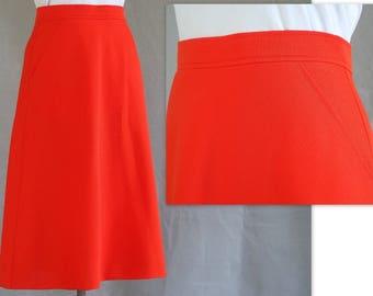 Orange Midi Skirt, Vintage 1970's A Line Polyester Knit Skirt, Modern Size 6, Small