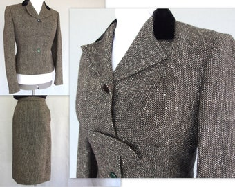 Wool Tweed Suit, Vintage 1950's Pencil Skirt Suit, Modern Size 4, Extra Small