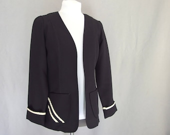 Unlined Black Jacket with Asymmetrical White Trim, Vintage 1970's Polyester Double Knit Blazer, Modern Size 4, Extra Small