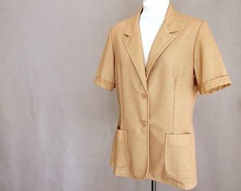 Tan Short Sleeved Jacket, Vintage 1970's Nikki Top, Fits Size 14 - 16, Large