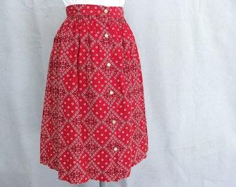 Vintage Red Bandana Skirt, Modern Size 4, Extra Small