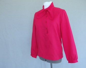 Rose Tie Blouse, Vintage 1970's Silky Blouse, Modern Size 6 to 8, Small