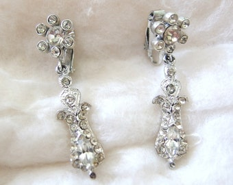 Starry Rhinestone Earrings, Clip On Vintage Jewelry