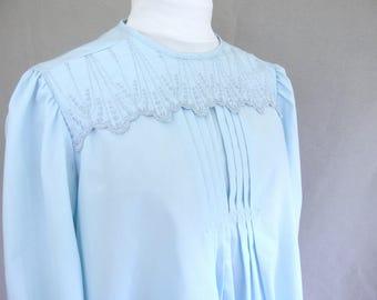 Vintage Pastel Blue Maternity Blouse, Modern Size 10 - 12, Medium