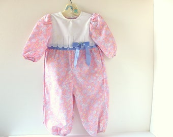 Pink Floral Rompers Girls with White Lace Yoke, Vintage 1990's, 18 Mos.