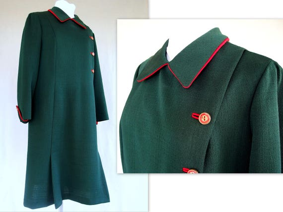 Green Vintage Dress, 1970's Mod Polyester Dress, M