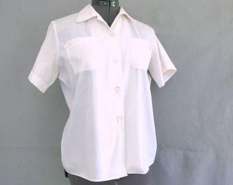 Vintage 1970's White Girl Scout Summer Uniform Blouse, Modern Size 12, Medium