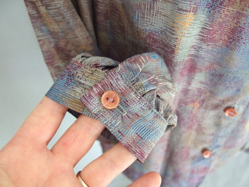 Modern Size 6 to 8 Small Vintage 1970/'s Silky Blouse Gray Tie Blouse