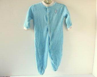 Blue Terry Sleeper for Boys with Teddy Bear Butt, Vintage 1980's Pajamas, Size 12 Mo
