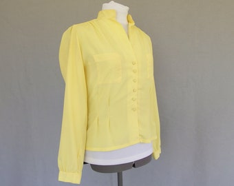 Vintage Yellow Blouse, Vintage 1970's Long Sleeve Fitted RD #2 Blouse, Modern Size 6 to 8, Small
