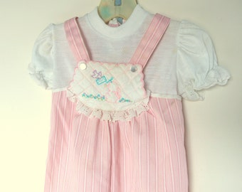 Pink One Piece Outfit for Girls, Vintage 1990's Jumpsuit, Size XL, 24 Mos.