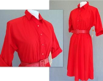 Red Shirt Dress, Vintage 1980's Circle Skirt American Shirt Dress, Modern Size 6 - 8 Petite, Small NWT