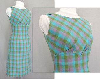 Vintage 1960s Gingham Check Plaid Sundress - Modern Size 0 - 2, Extra Small