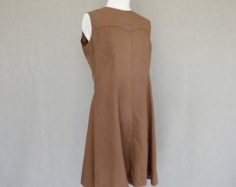 Sleeveless Brown Dress, Vintage 1970's Sheath, Fits Size 10 - 12, Medium