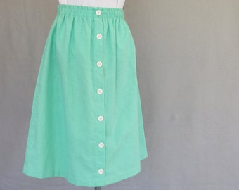 Mint Green Skirt, Vintage Pull On Skirt, Modern Size 8, Fits a Small