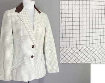 Brown / White Blazer, Vintage 1970's Tattersall Plaid Jacket, Modern Size 6, Small