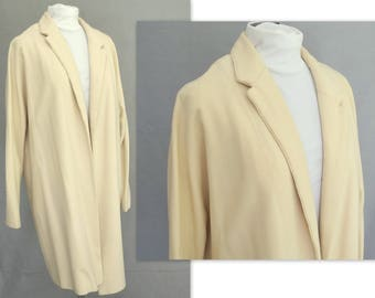 Cream Lightweight Coat; Lined, Handmade Outerwear; Fits Size 14, Large