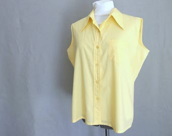 Vintage Yellow Sleeveless Button Shirt by Permanent Press, Fits Size 14 - 16, Large