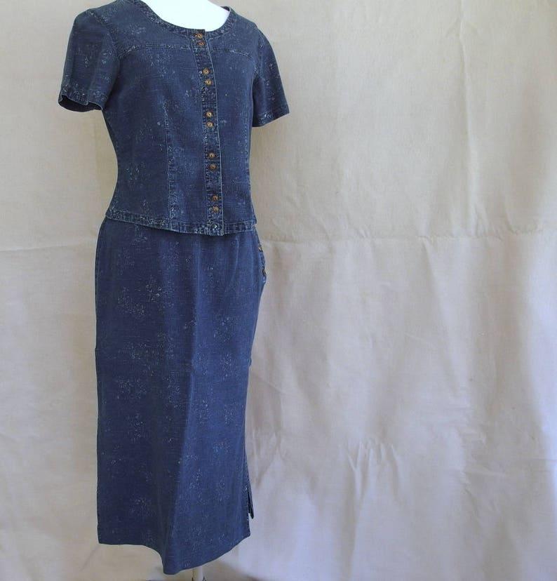 Medium Vintage 1990/'s Linen  Cotton Denim Skirt and Top Modern Size 8-10
